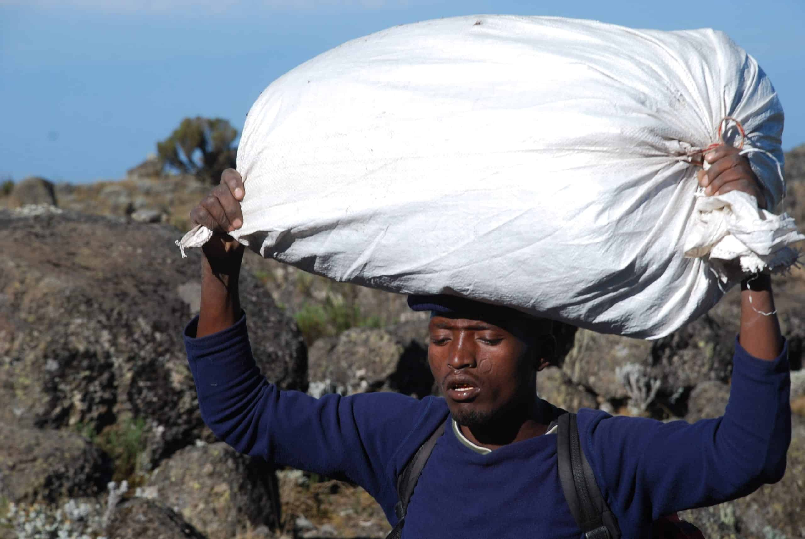 Porter with luggage covered by rice sack balanced on his head, marches up the slopes of Kilimanjaro