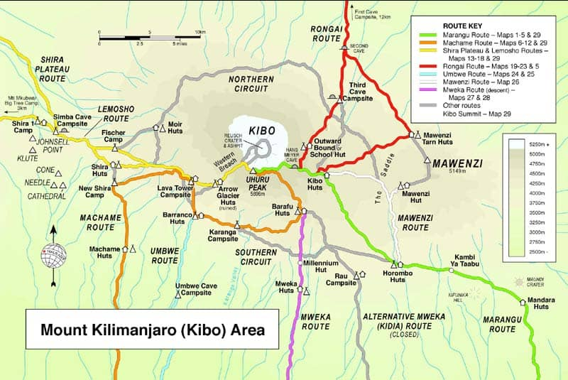Multi-coloured map of the paths up Kilimanjaro from the best selling guide to the mountain by Henry Stedman